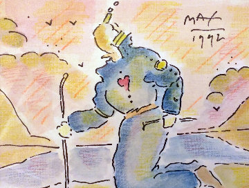 Sage By the Lake Watercolor 1992 22x24 Watercolor by Peter Max