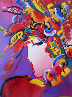 Blushing Beauty 2002 Unique 34x40  Huge Works on Paper (not prints) - Peter Max