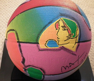 Basketball Painted Icon Series 2001 Sculpture by Peter Max