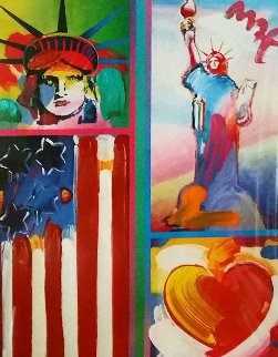 Patriotic Series: Two Liberties, Flag And Heart 2006 Unique 18x14 Works on Paper (not prints) by Peter Max