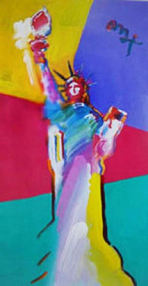 Statue of Liberty 2001 53x33 Works on Paper (not prints) by Peter Max