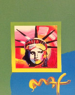 Liberty Head II Unique 2000 10x8 Works on Paper (not prints) by Peter Max - 2