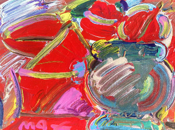 Untitled Painting  1989 19x16 Original Painting by Peter Max
