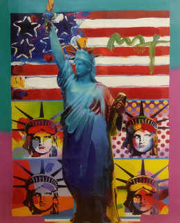 Patriotic Series: Full Liberty With 4 Liberty Heads 2006 19x15 Works on Paper (not prints) by Peter Max