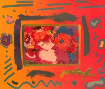 Flower Lady With 3 Profiles Unique 1998 26x23 Works on Paper (not prints) by Peter Max