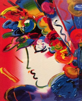 Blushing Beauty on Blends 2006 10x8 Works on Paper (not prints) by Peter Max