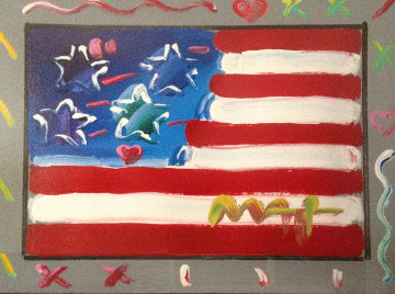 Flag With Heart Version #86 2004 22x25 Works on Paper (not prints) by Peter Max