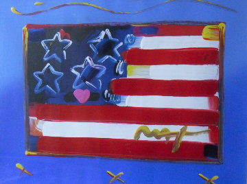 Flag With Heart Unique 1999 31x37 Works on Paper (not prints) by Peter Max