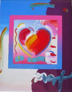 Heart on Blends Unique 2006 21x23 Works on Paper (not prints) - Peter Max