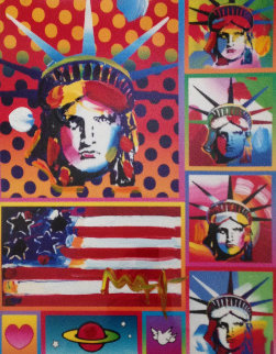 Patriotic Series: Five Liberties And a Flag Unique 2006 32x24 Works on Paper (not prints) by Peter Max