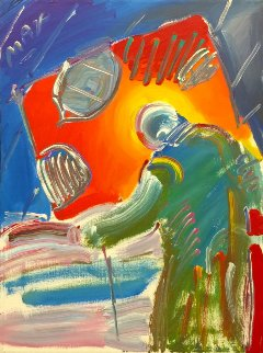 Sage With Cane Unique 1990 24x18 Original Painting by Peter Max