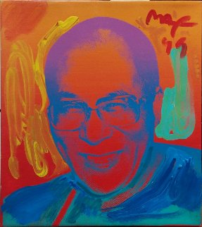 Dalai Lama Unique 1999 16x14 Original Painting - Peter Max