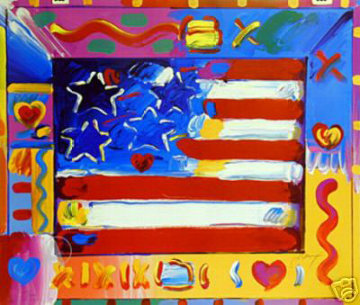 Flag With Heart II 2002 Limited Edition Print - Peter Max