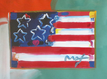 Flag With Heart Unique 1999 38x32 Works on Paper (not prints) by Peter Max