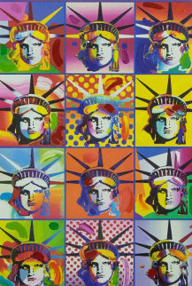 Liberty And Justice For All II Unique 2005 32x38 Works on Paper (not prints) by Peter Max
