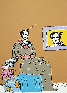Lady With Picture 1978 Limited Edition Print by Peter Max