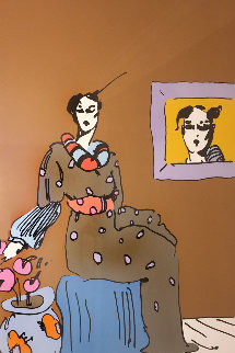 Lady With Picture  1960 Vintage Limited Edition Print - Peter Max