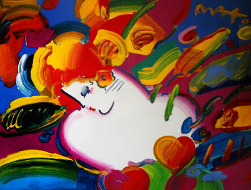 Flower Blossom Lady Unique 1999 36x30 Works on Paper (not prints) - Peter Max