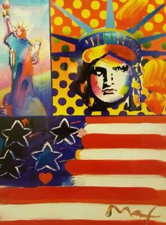 God Bless America IV  31x37 Works on Paper (not prints) by Peter Max