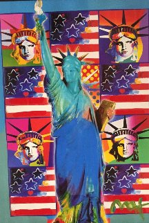 God Bless America III With Five Liberties Unique 2005 31x37 Works on Paper (not prints) by Peter Max