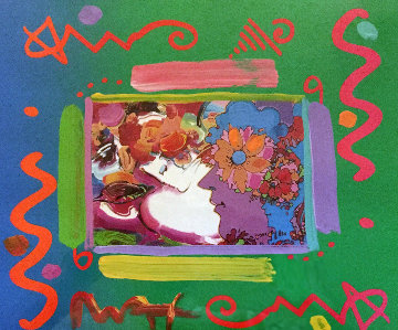 Flower Blossom Lady Collage 2000 25x25 Works on Paper (not prints) by Peter Max