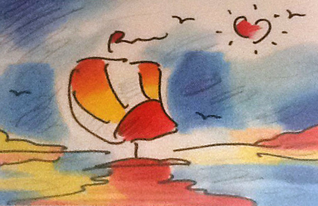 Sailboat With Heart Limited Edition Print by Peter Max