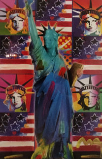 God Bless America III  Unique 2005 24x18 Works on Paper (not prints) by Peter Max