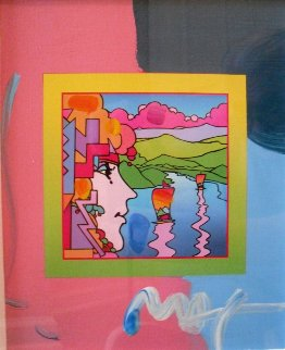 Geometric Profile And Sailboat on Blends Unique  2006 24x22 Works on Paper (not prints) by Peter Max