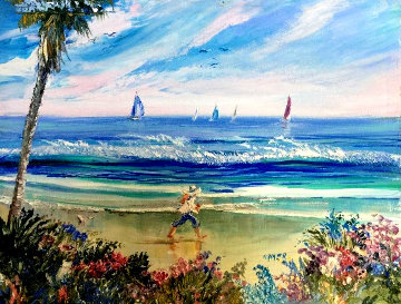 Untitled Seascape 1998 10x13 Original Painting - Ruth Mayer