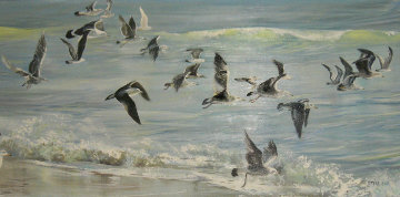 Untitled Seascape with Birds 1980 27x46 Original Painting - Ruth Mayer