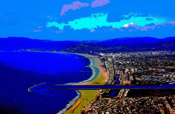 Santa Monica And Marina Del Rey From the Air AP 2014 Aluminum Limited Edition Print - Les Mayers