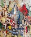 Fete a Denis 1972 30x26 Original Painting - Jean-Claude Mayodon