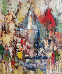 Fete a Denis 1972 30x26 Original Painting - Jean-Claude Mayodon