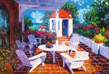 Island Terrace 1990 38x52 Huge Original Painting - Barbara McCann