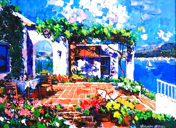 Terrace By the Sea Embellished Limited Edition Print - Barbara McCann