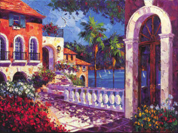 Menton, French Riviera, France 1997 Embelished Limited Edition Print - Barbara McCann