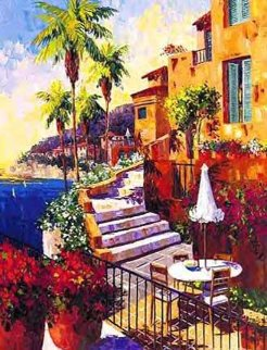 Day in Ville Franche 2000 Embellished Limited Edition Print - Barbara McCann
