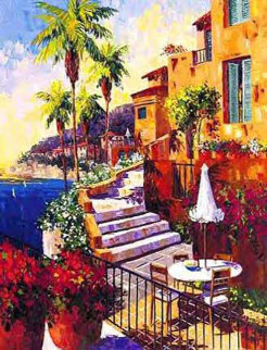 Day In Ville Franche Embellished Limited Edition Print - Barbara McCann