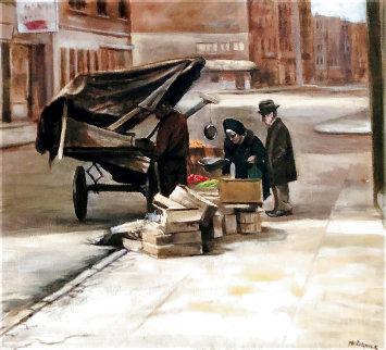 Bleecker Street NYC  1976 21x23 Original Painting - Harry McCormick
