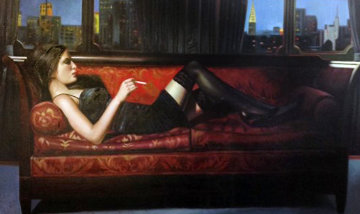 Untitled Reclining Woman 40x62 Original Painting by Harry McCormick