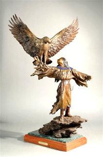 Woope's Gift Bronze Sculpture 1997 35 in Sculpture - Jerry  McKellar