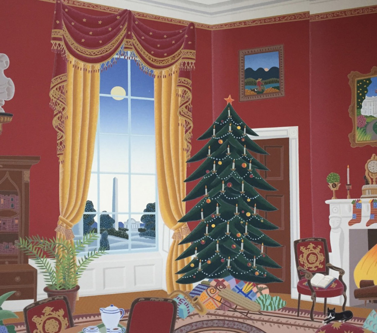 White House Red Room At Christmas 1985 Limited Edition Print by Thomas Frederick McKnight