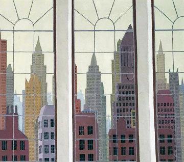 View of New York 1979 40x34 Huge Original Painting - Thomas Frederick McKnight