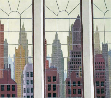 View of New York 1979 40x34 Super Huge Original Painting - Thomas Frederick McKnight