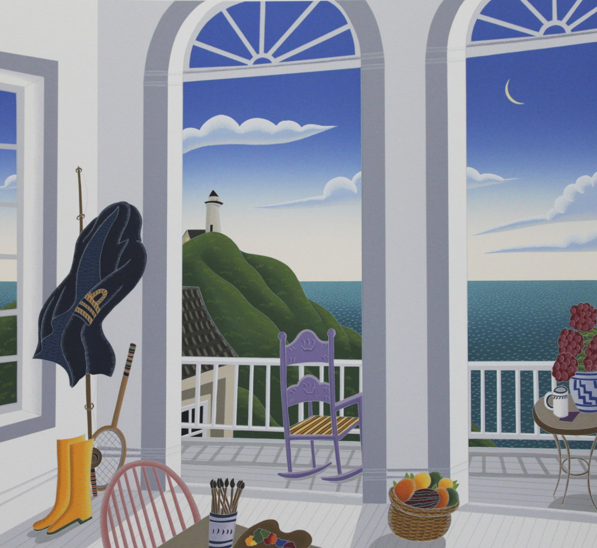 Nantucket Porch With Captain's Jacket 1991  Huge Limited Edition Print by Thomas Frederick McKnight