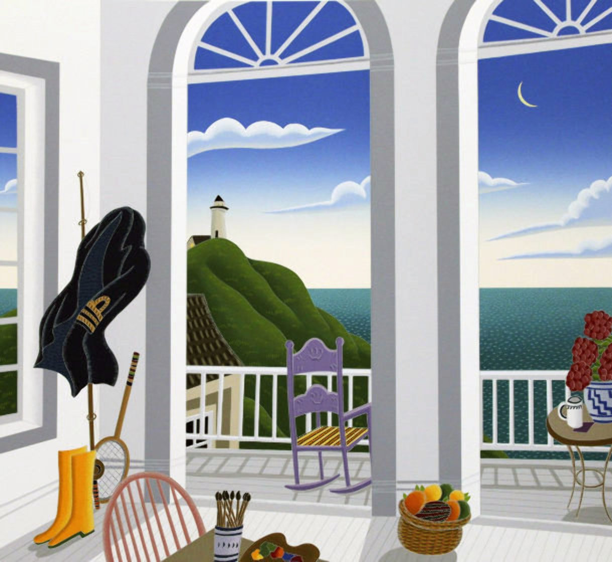 Nantucket Porch With Captain's Jacket AP 1991 Limited Edition Print by Thomas Frederick McKnight