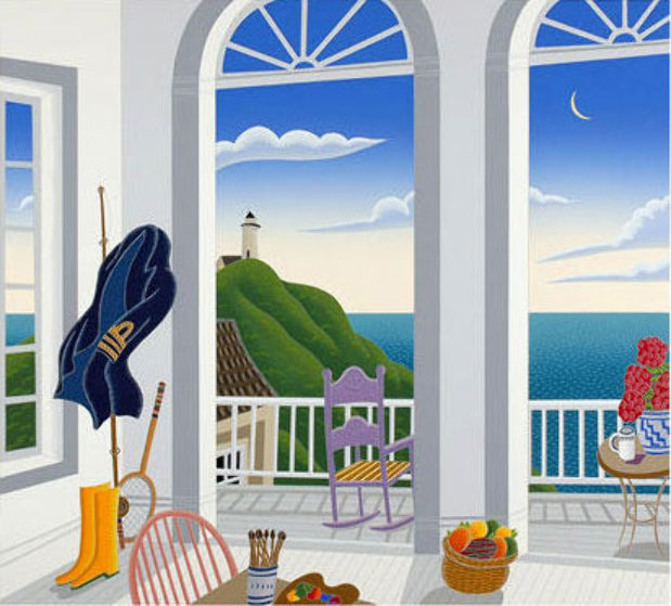 Nantucket Porch with Captain's Jacket Limited Edition Print by Thomas Frederick McKnight