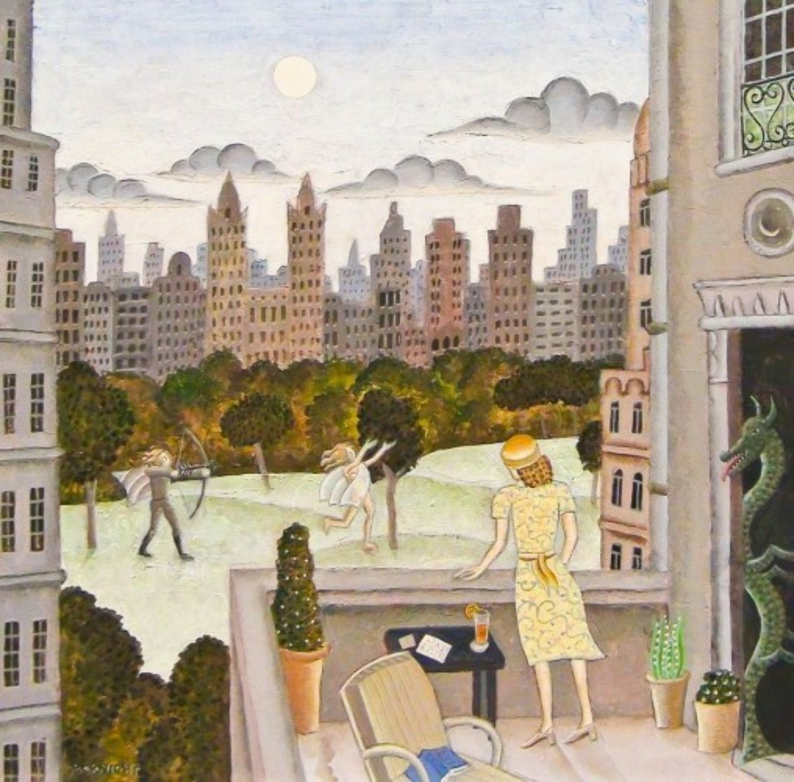 Apollo And Daphne in Central Park 2010 30x30  Original Painting by Thomas Frederick McKnight