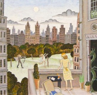 Apollo And Daphne in Central Park 2010 30x30  Original Painting - Thomas Frederick McKnight