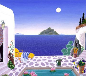 Dragonissin Original Casein on Paper (Aegean Sea Suite) 1989 21x23 Original Painting by Thomas Frederick McKnight